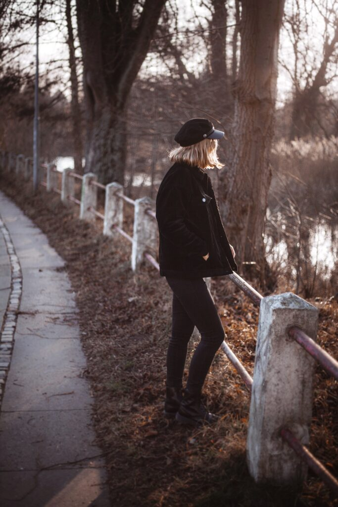 out for a walk with my new corduroy jacket wearing bakerboy hat and my favorite dr. martens