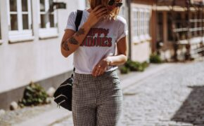graphic tee and patterned trousers