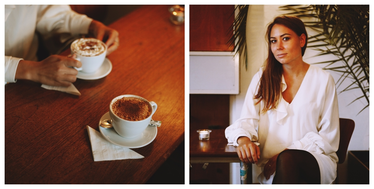collage of two cups of coffe and a portrait of annika