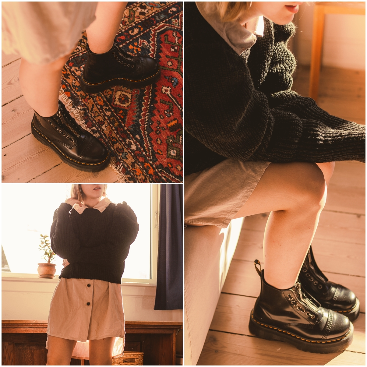 collage with pictures of puffsleeve sweater and dr martins boots