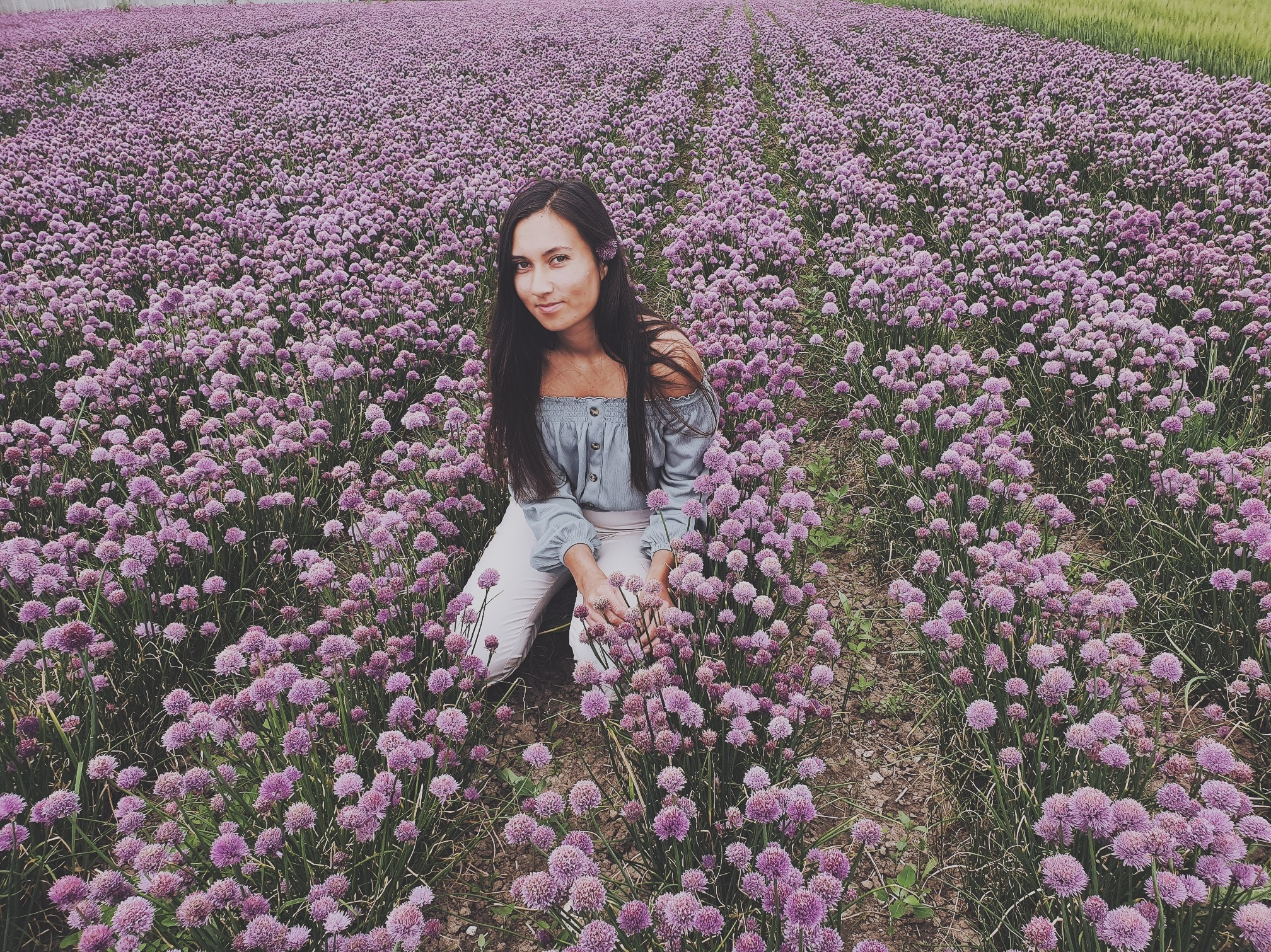my posing friend in a flower field