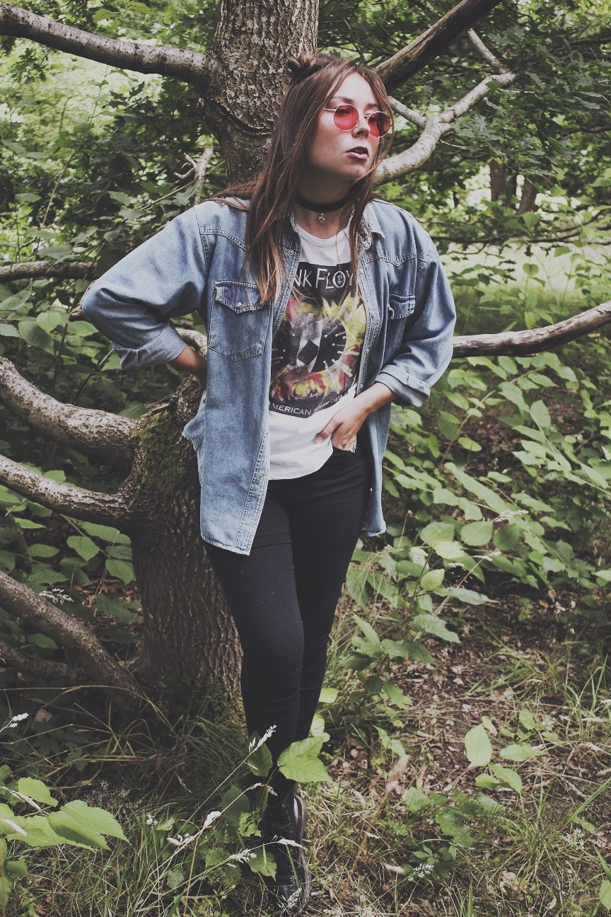 posing in the woods