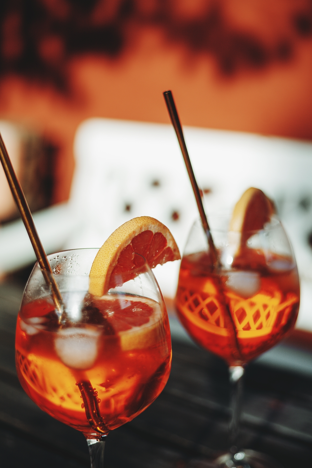 aperol spritz cocktails in the garden